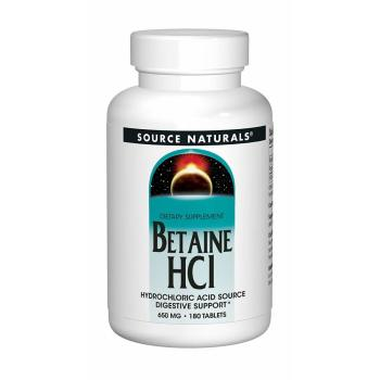 Source Naturals, Betaine HCL, 650 mg - 180 Tablets