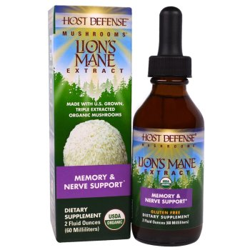 Fungi Perfecti, Host Defense Mushrooms, Organic Lion's Mane Extract, Memory & Nerve Support - 2 fl oz (60 ml)