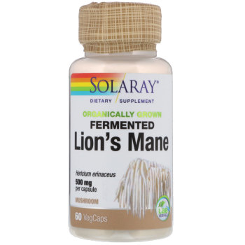 Solaray, Organically Grown Fermented Lion's Mane Mushroom, 500 mg - 60 VegCaps