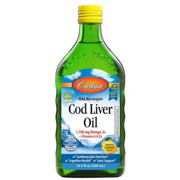 Carlson Labs, Wild Norwegian Cod Liver Oil, Natural Lemon - 16.9 fl oz (500 ml)