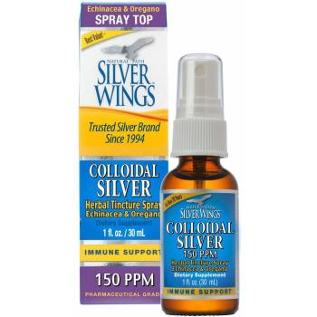 Natural Path Silver Wings, Colloidal Silver, Herbal Tincture Spray, 150 PPM - 1 fl oz (30 ml)