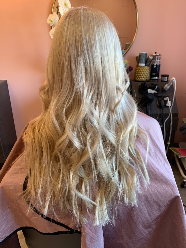 Hair color that showcases platinum blond