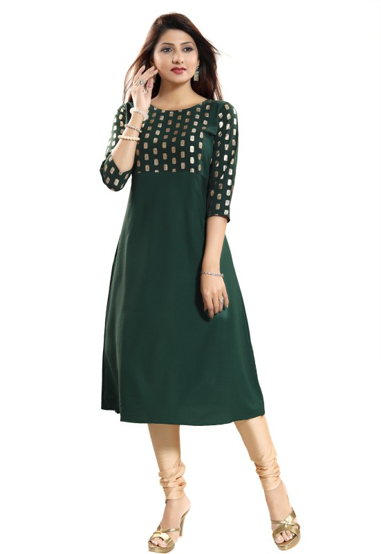 Women Printed Polycotton, Poly Crepe A-line Kurta Price in India