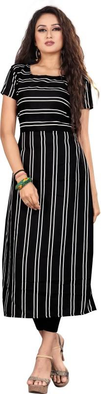 Women Striped Crepe Straight Kurta Price in India
