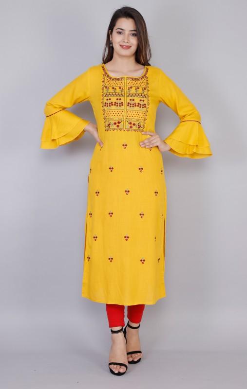 Women Embroidered Rayon Straight Kurta Price in India