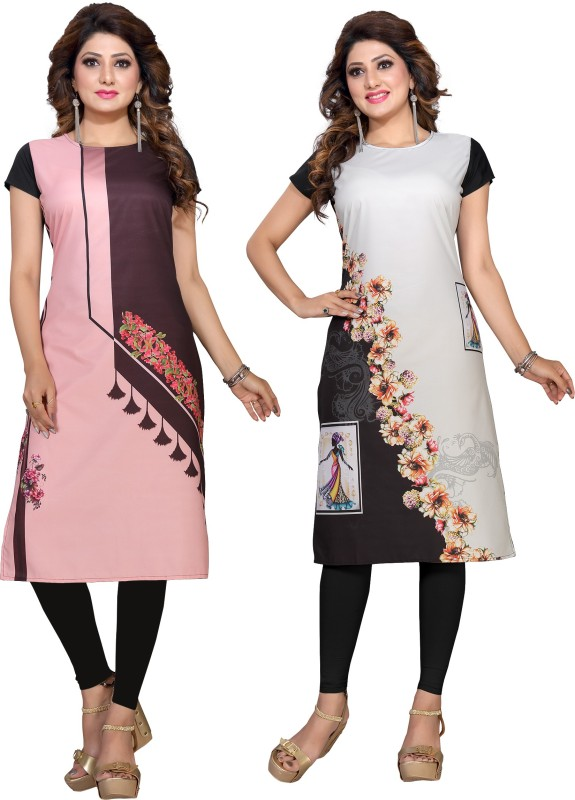 Women Printed Crepe Straight Kurta Price in India