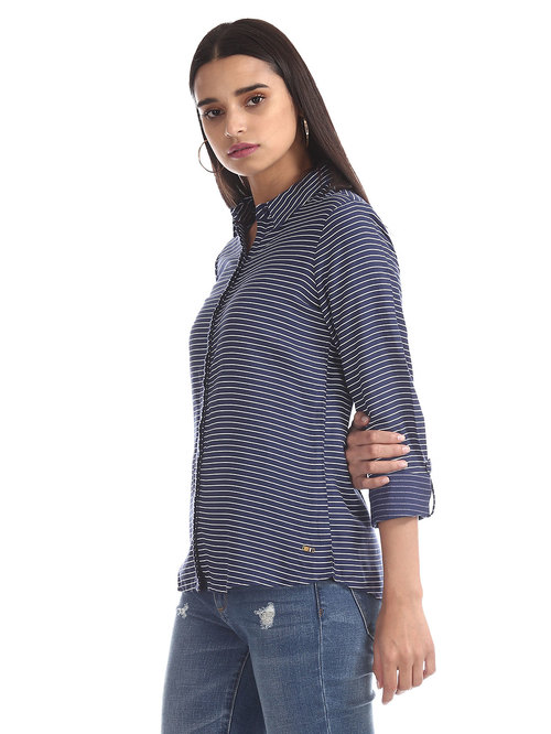 U.S. Polo Assn. Blue Striped Shirt Price in India