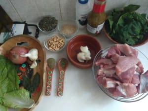 Ingredientes para preparar mole verde