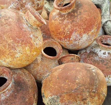 The drinks were fermented in clay pots.