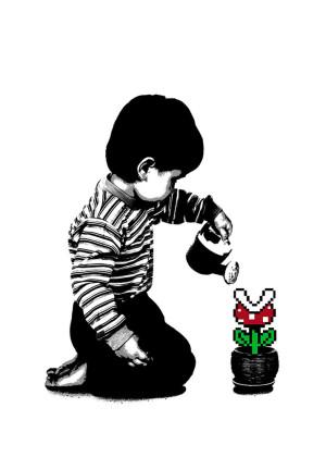 Visual Artwork: 8-Bit Gardening White by artist and creator BOT Stencil