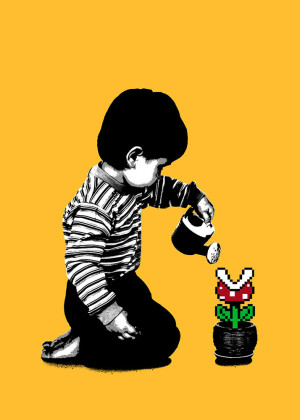 Visual Artwork: 8-Bit Gardening Yellow by artist and creator BOT Stencil