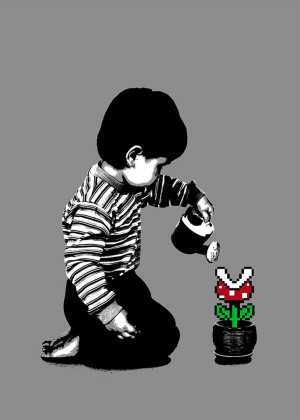 Visual Artwork: 8-Bit Gardening Grey by artist and creator BOT Stencil