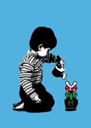 Visual Artwork: 8-Bit Gardening Blue by artist and creator BOT Stencil