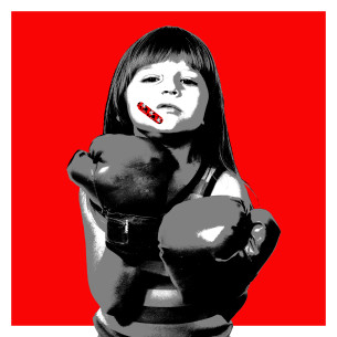 Visual Artwork: Minnie Band-Aid Red by artist and creator BOT Stencil