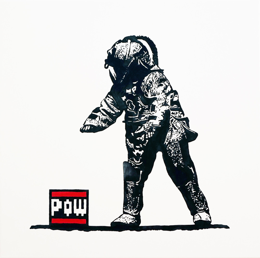 Visual Artwork: Pow Squad B/W Canvas by artist and creator BOT