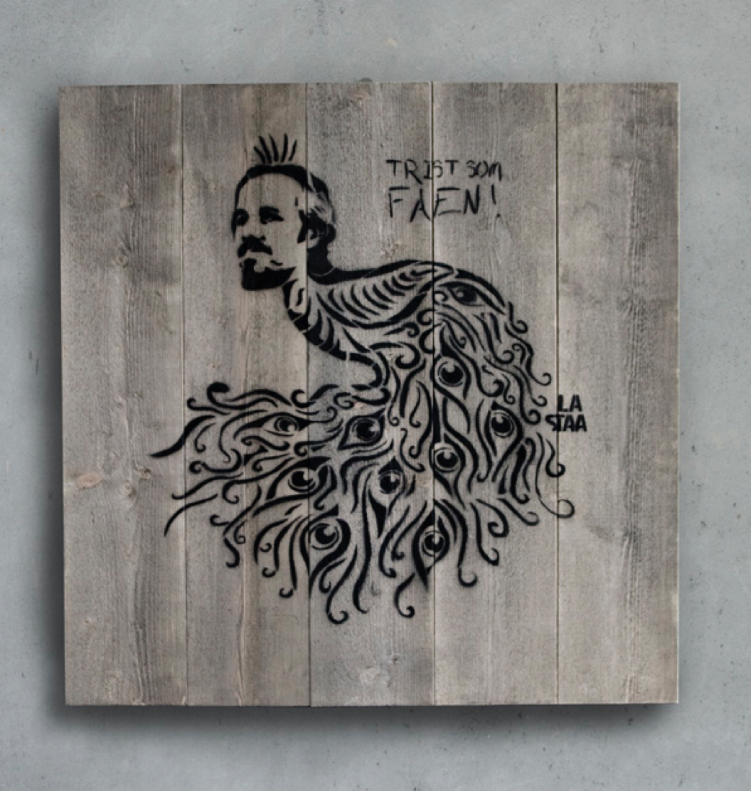 Visual Artwork: Trist som faen on Wood by artist and creator La Staa