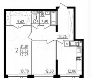 2-к квартира, 68.6 м², 2/9 эт.