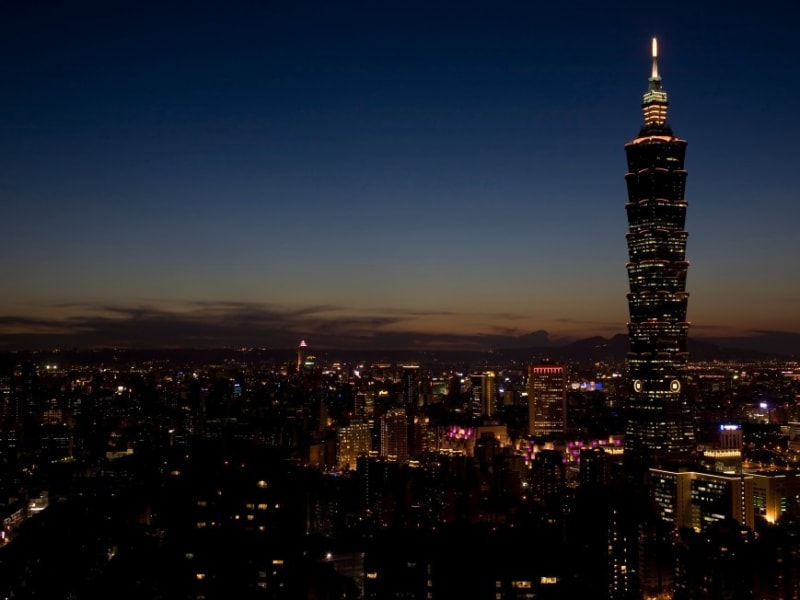 Beautiful views of the Taipei night skyline