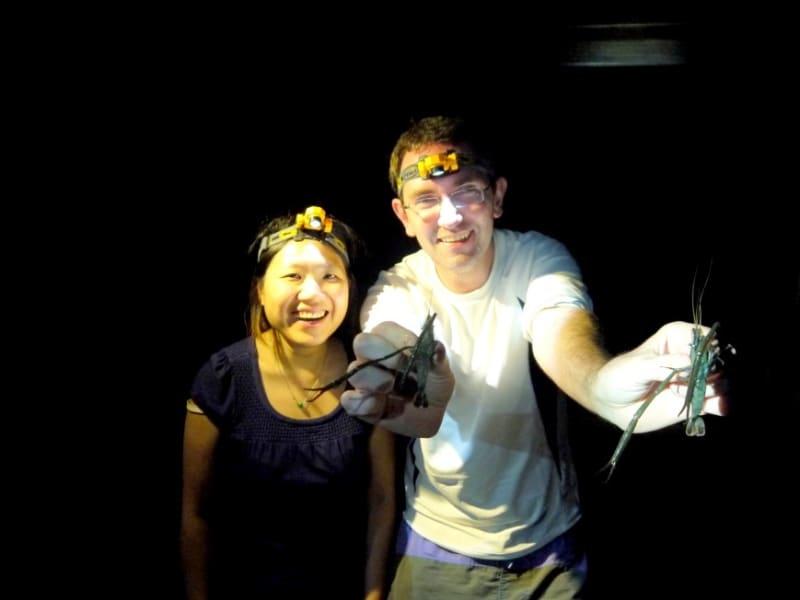 Day1: 夜間の渓流でのエビ獲り体験(季節により異なる)とバーべーキュー ※エビ獲り・バーベキューは天候や渓流の状態によって調整される可能性があり、エビ釣り及び台湾料理となります。