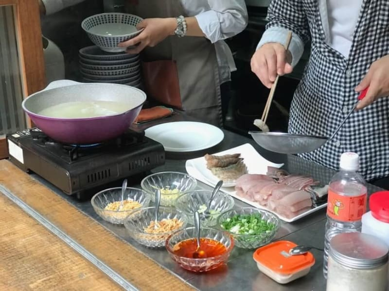 Enjoy Tainan's famous milkfish congee, prepared right in front of you