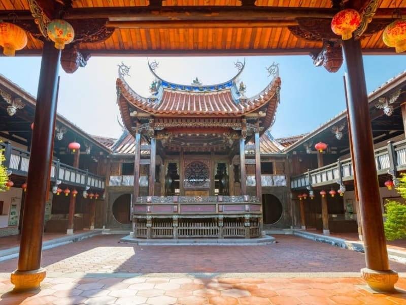 Enjoy a history lesson at Wufeng Lin Family House, the preserved mansion of one of Taiwan's most influential families