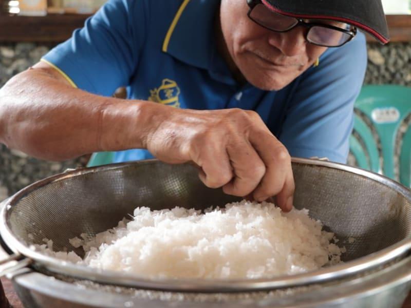 Traditional sea salt making grandpa