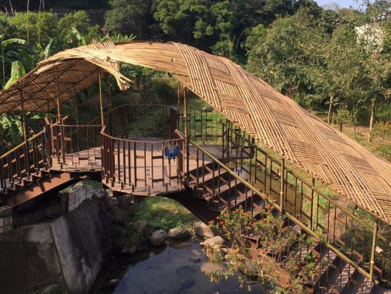 設置在生態池橋上方,不僅「蝶道」柔化橋體剛硬的視覺感受,也為登橋民眾遮陽