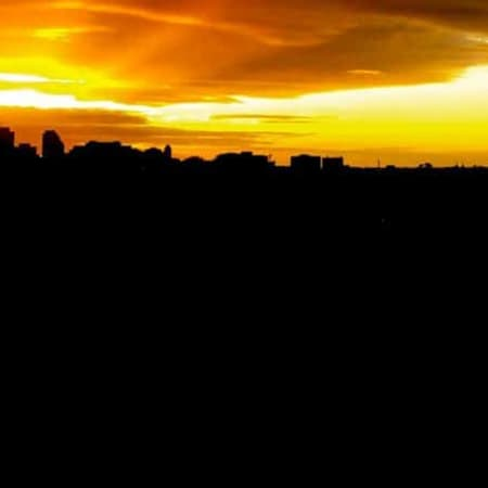 Adelaide skyline in silhouette
