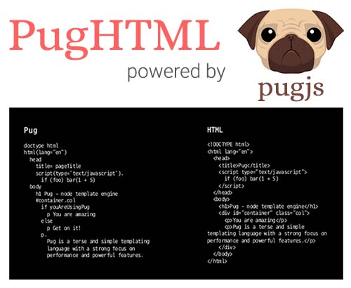 PugHtml - Pug and HTML online converter in realtime