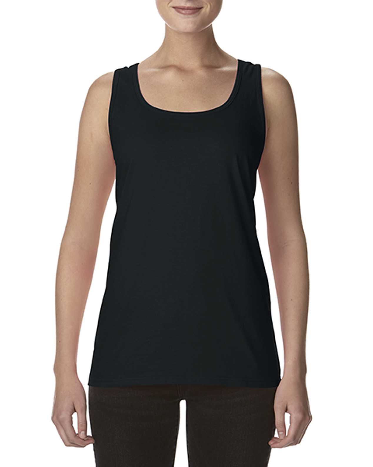 d50ac9a78b 'A picture of a Gildan Softstyle Ladies Racerback Tank, ready to be custom  printed. '