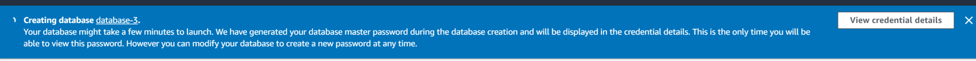 Database creating notice