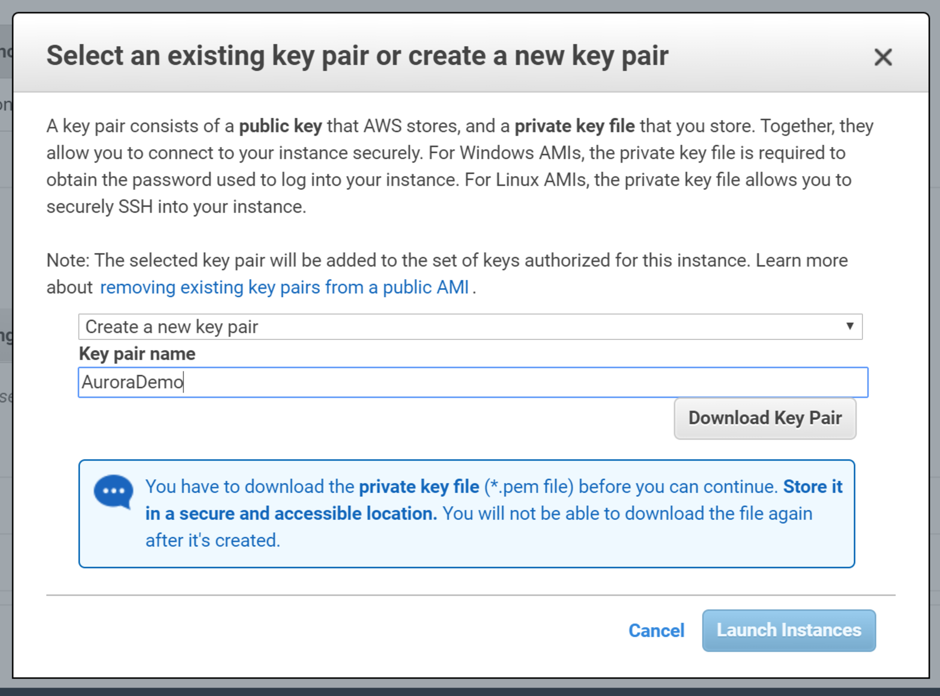 The create key dialog from AWS EC2.