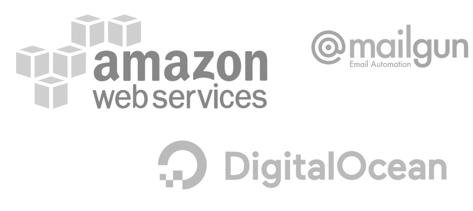 Source develops on Amazon or Digital Ocean with the add on of MailGun.