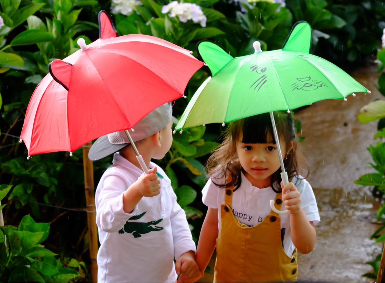 Children walking down path with umbrellas