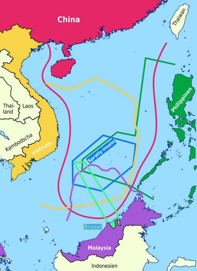 South China Sea conflict Claimed area map