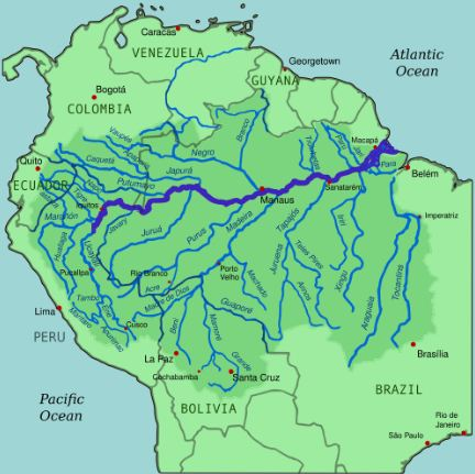 Amazon River Facts - Map
