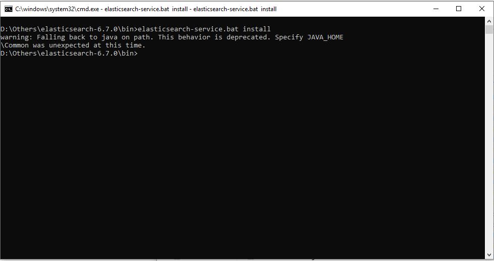 Elasticsearch startup error