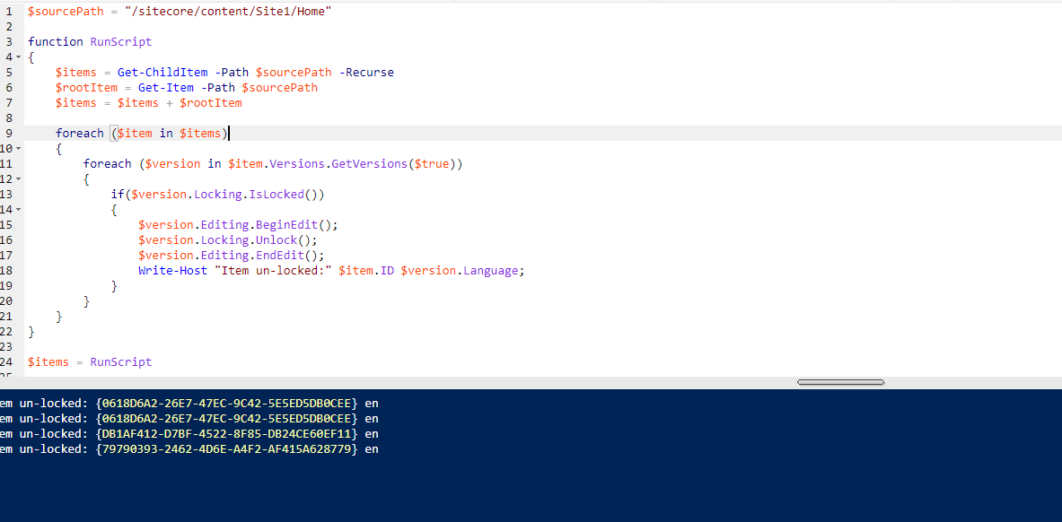 Unlock Items PowerShell