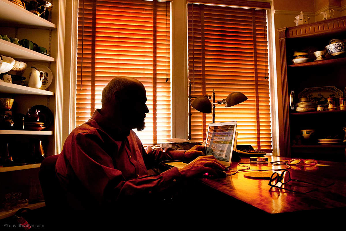 Crime novelist Lawrence Block in his New York apartment, 27 July 2011.