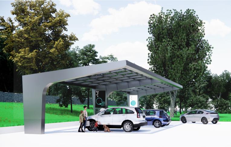 Solar EV Carport Integrated Cantilever Design C-Frame