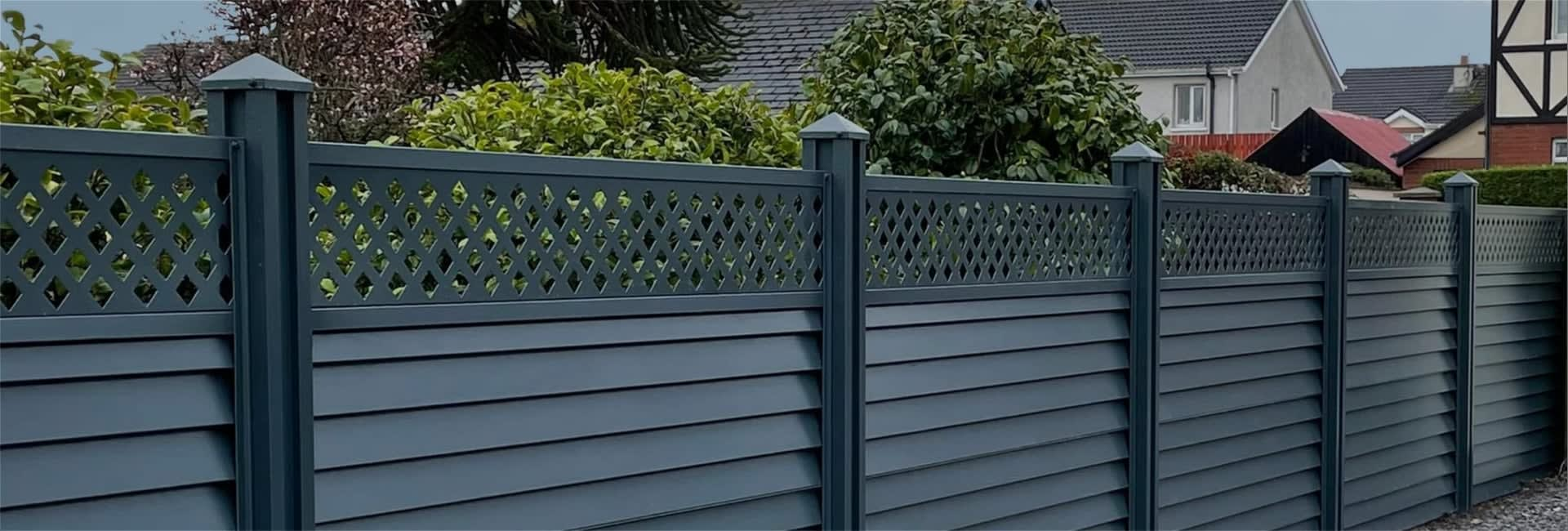 <h2> Durable<br /> Strong &amp; Innovative</h2> <p> Maintenance Free Colour Coated<br /> Steel Garden Fence</p>