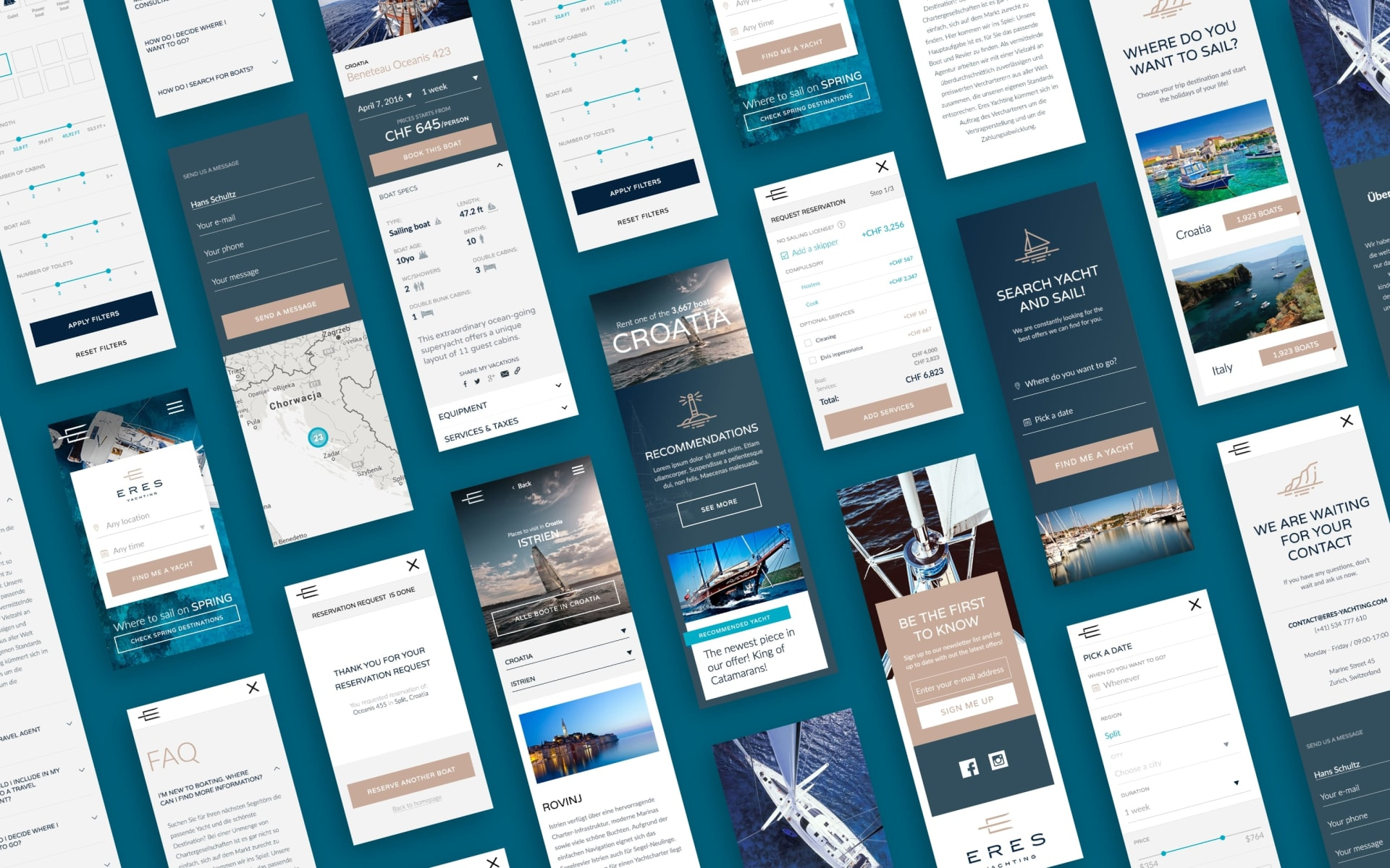 Eres Yachting Booking Platform Mobile Designs
