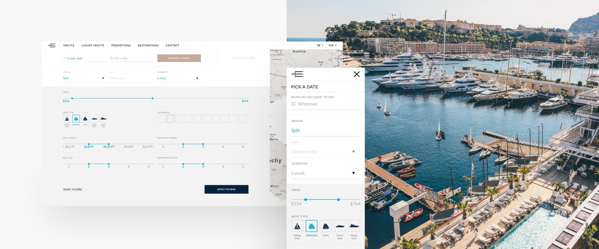 Eres Yachting Booking Platform Web Design