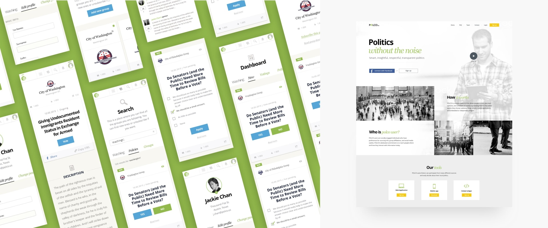 Polco Mobile And Web App Mockup