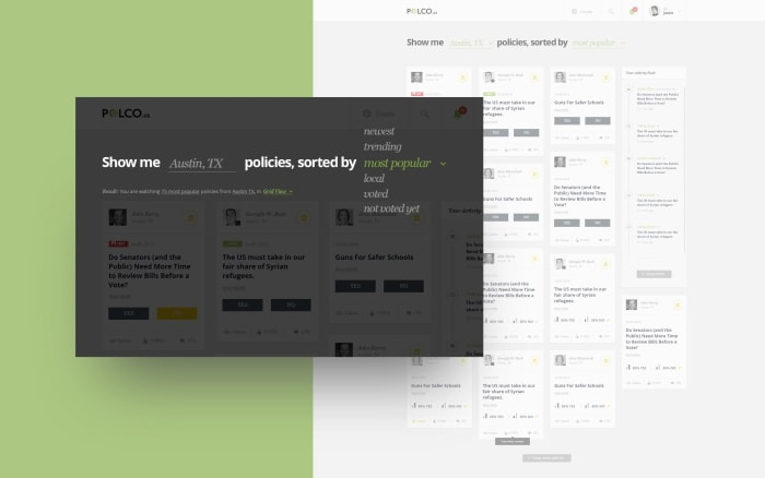 Polco web app filtering feature designed by Boldare graphic designer