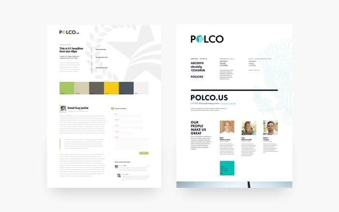 Polco web and mobile app moodboards designed by Boldare web designer