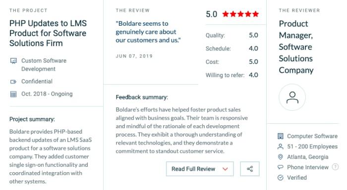 Review of Boldare on Clutch.com