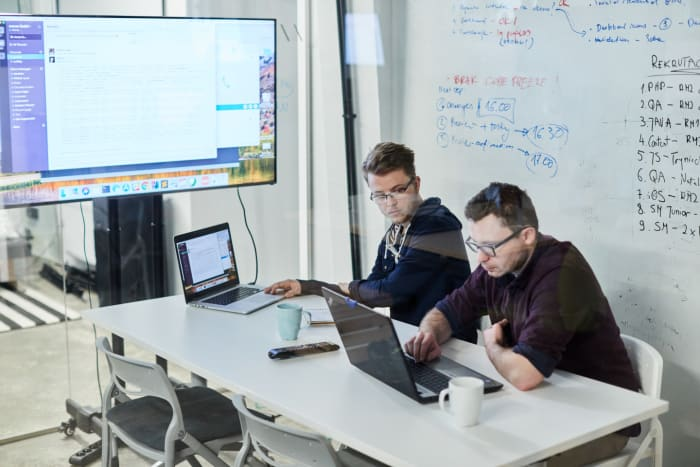 Developers working on JavaScript and Java