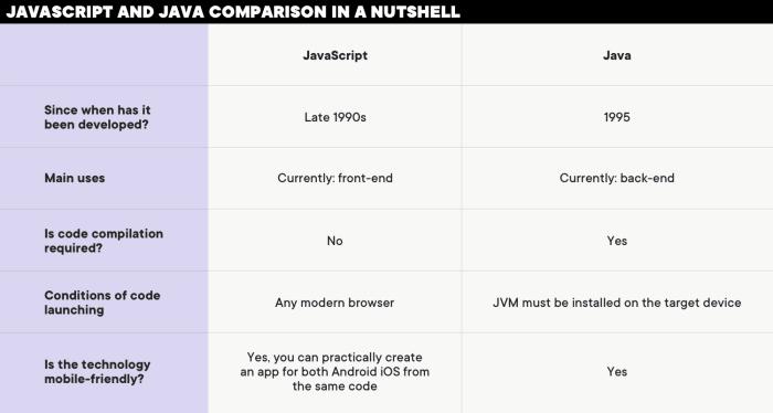 JavaScript and Java comparison