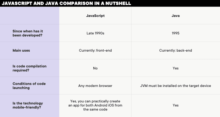 JavaScript and Java comparison